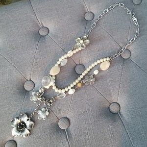 Pearl, silver and cream colored statement necklace